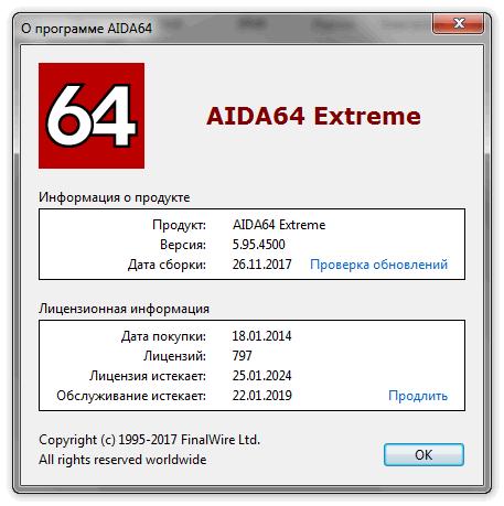 Информация о программе Aida 64