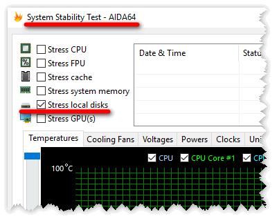 Изменение параметров теста стабильности системы в Aida 64