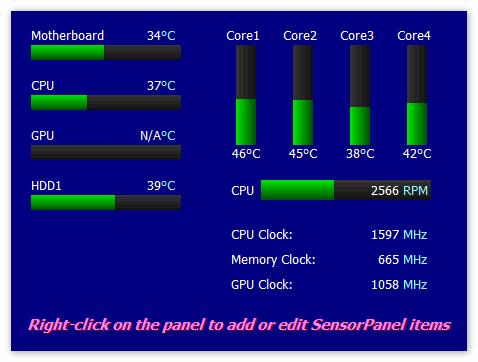 Панель датчиков от Aida 64