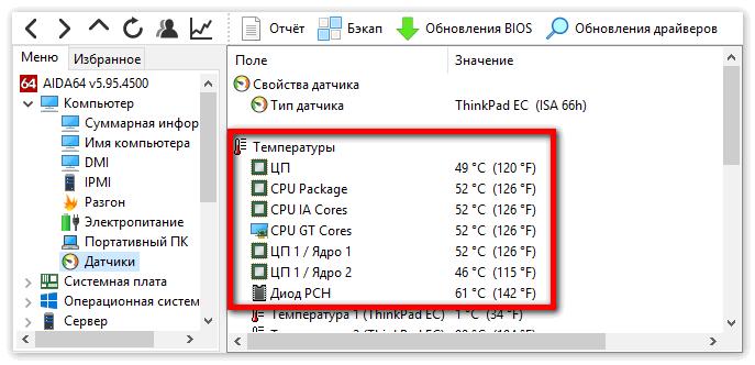 Показатели температуры процессора в Aida 64