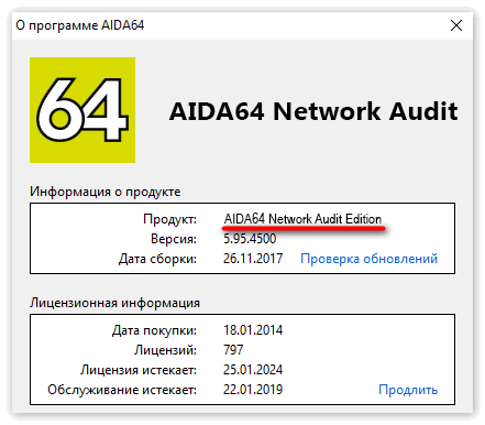 Приложение Aida 64 Network Audit Edition