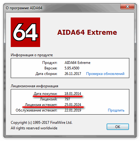 Срок действия лицензии программы Aida 64