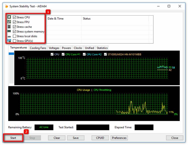 Стресс-тест температуры процессора в Aida 64