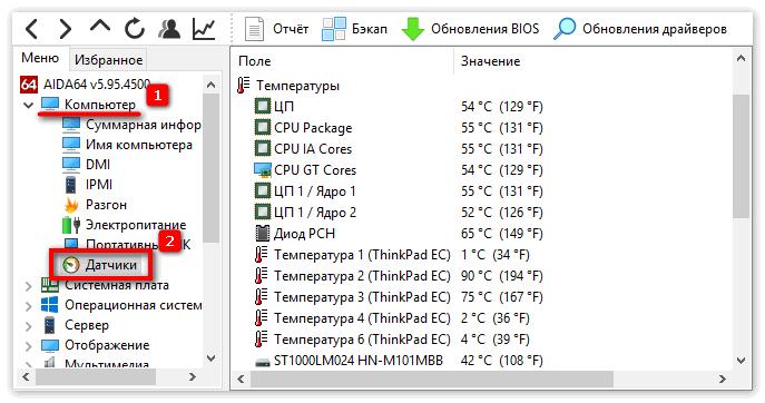 Температурный датчики в Aida 64