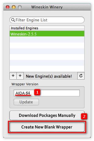 Установка программы Aida 64 в эмуляторе Wineskin
